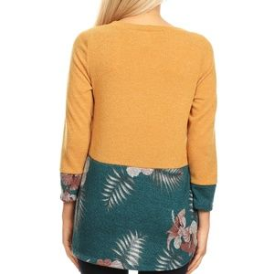 MomMe And More Sweaters - NEW Women's Plus Size Sweater Yellow Teal Floral